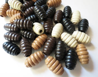 50pcs, 20x11mm Fluted Oval Painted Wood Beads, Currogated Wood Beads, Wood Bead Parcel, Brown Black Creme Oval Wood Beads, Wood Bead Lot