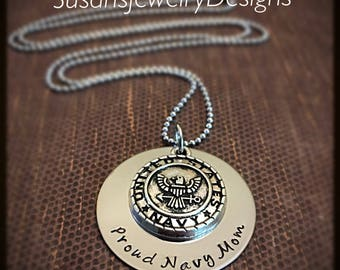 US Military Charm Necklace - stainless steel 1 sided disc- choice of chain - choice of military branch charm
