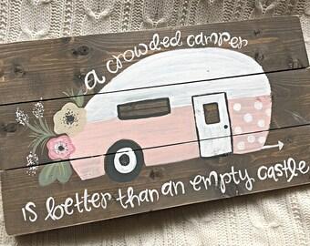 Vintage Camper   Camper Sign   Hand Painted Wood Sign