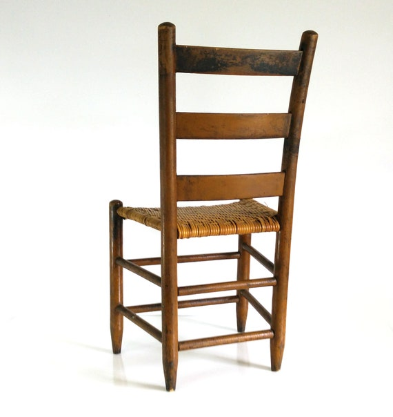 Early American Ladder Back Chair, Woven Seat