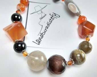 Natural stone and silver bracelet, gift for you, handmade.