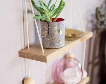 Hanging shelf with wooden beads, wall shelf, minimal shelf, display shelf, light wood, swing shelves, wall shelves, wooden shelves