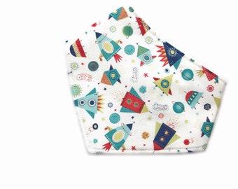 Baby Bandana Bib - triangle style, Baby Bib, Dribble Bib, Handmade Bib, Drool Bib knitting rocket print