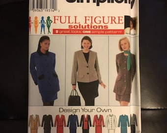 Plus size womens pencil skirt and jacket sewing pattern Simplicity 7292 sizes 18w-24w