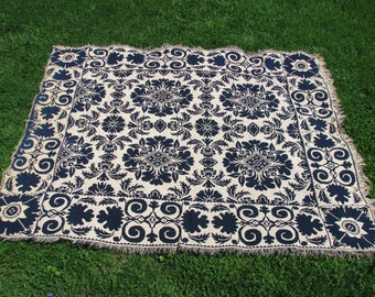 Textiles, Jacquard Coverlet, Blue and White, Double Weave, Reversible, Mid 1800's