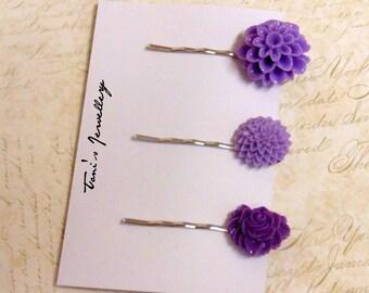 Three Flower Hair Pins - Purple Combo #2, Resin, Dainty