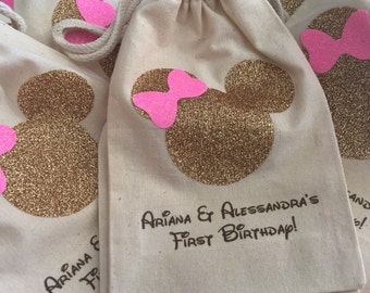 Gold and pink drawstring Minnie favor bags
