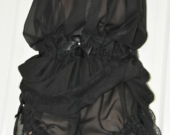 Petticoated panties sissy delight (SD) panty dress (pantydress), soft sheer black nylon chiffon, panties for men, risque Sissy Lingerie