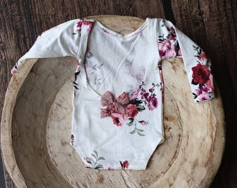 Newborn  Long Sleeve White Floral Romper