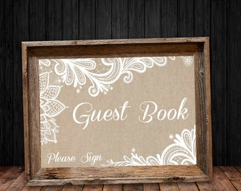 Burlap and Lace Guest Book Sign