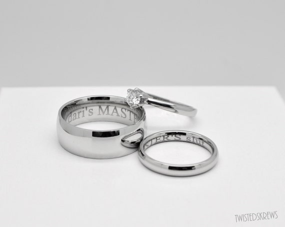 bdsm engraved couples 3 piece wedding rings set dom sub master slave pet little kitten babygirl wedding engagement ring commitment ceremony - 3 Piece Wedding Ring Sets