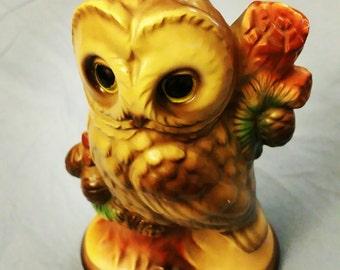 Nice Hand Painted Ceramic Pottery Glass Brown Barn Owl Bird Figurine Signed