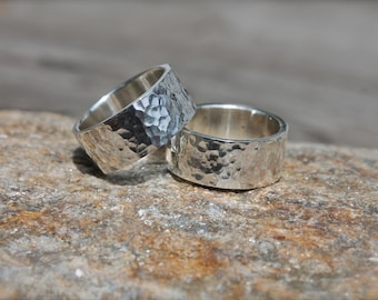 Silver Wide Hammered Band. Mens ring. textured. Wedding band. sterling silver. Dad. brother. husband.
