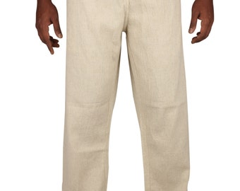 Mens  Linen  Drawstring pants  In A Baggy Look without Zipper Regular and Plus Size.
