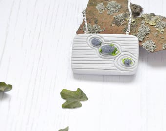 Zen Garden Pendant Necklace, V03, Miniature Japanese Rock Garden Pendant