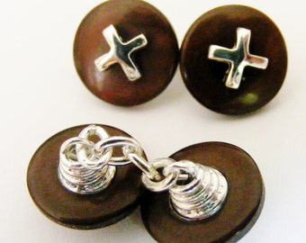 Button Cufflinks // Resin w/ gold or silver plated detail / 1980's Vintage / Men's Jewellery / Men's Gift Idea / Birthday