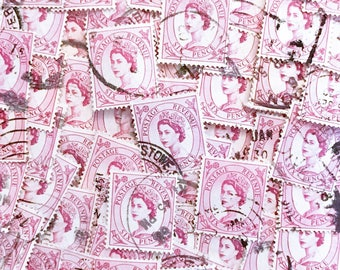 Light pink, used, British, 6p wilding postage stamps all off paper for collage, stamp collecting, decoupage, scrapbooking and crafting