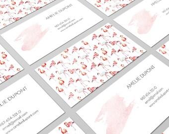Flamingo Cards, Flamingo Print, Tropical Cards, Business Card Design, Business Cards, Calling Cards, Personal Cards, Contact Card