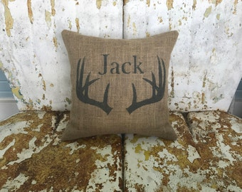 Burlap Pillow Antlers with Name Burlap Pillow ANTLERS  Throw Accent Pillow Custom Colors Available Home Decor Rustic Decor