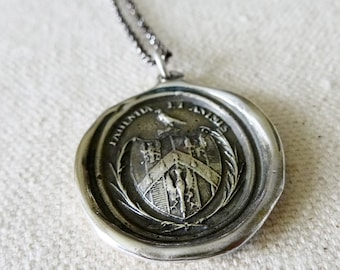 Patience and Courage Necklace - Wax Seal Necklace in Latin - Patientia et Animus - Eagle Necklace - Latin Necklace - 331