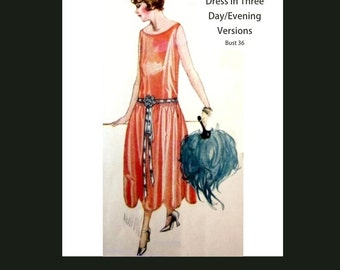1920s 20s Vintage Sewing Pattern Flapper Dress Downton Abbey Art Deco Reproduction Bust 36