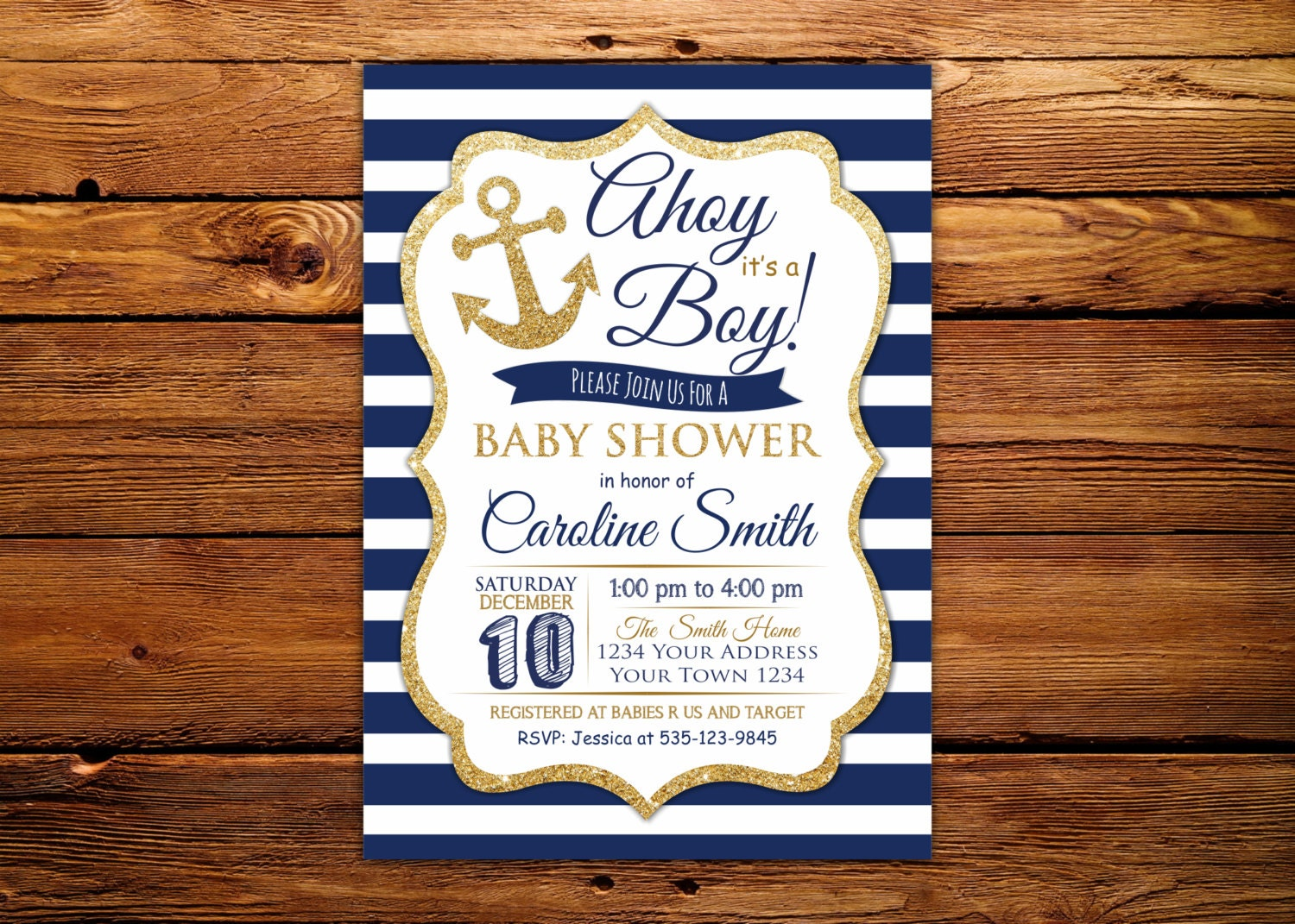 Ahoy Its a Boy Baby Shower Invitation. Nautical Baby Shower