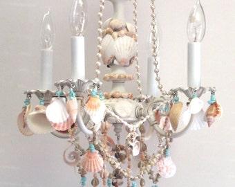 4 Light Sea Shell Mini Chandelier