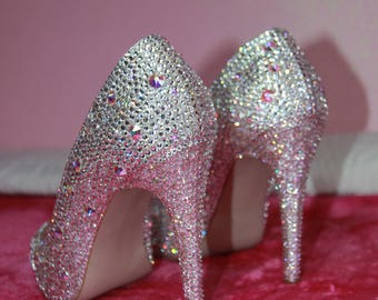 Genuine Swarovski Crystals personalized heel shoes, size 5