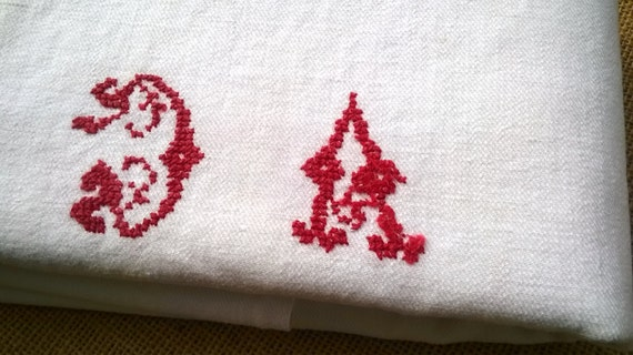XLarge Victorian Kitchen Towel French White Thick Cotton Red Monogram Dish Cloth #sophieladydeparis