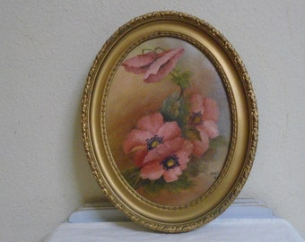Vintage Oil On Board Peonys Antique Oval Frame Dallas Artist Mint