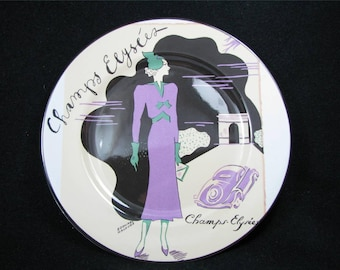 """ROSANNA 8"""" Dessert Salad Plate """"Champs Elysees"""" Art Deco Made in Italy"""