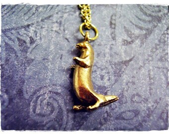 Gold Standing Otter Necklace - Antique Gold Pewter Otter Charm on a Delicate Gold Plated Cable Chain or Charm Only