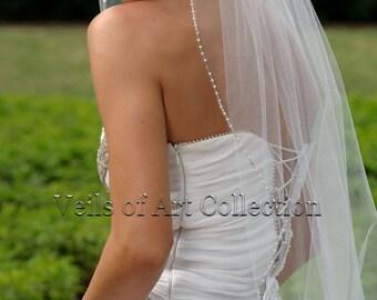 Designer One Tier Embroided Bridal Wedding Veil Fingertip Style VE314 NEW CUSTOM VEIL