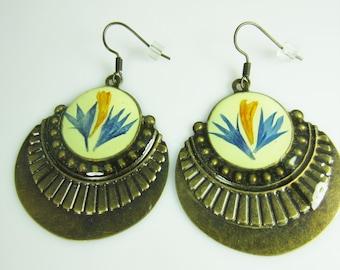 Orient Beauty Earrings, Pressed Flower Earrings, Real Flowers, Antiqued Brass (1680)