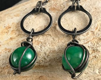 Black Steel, Green Agate, Hardware Jewelry.