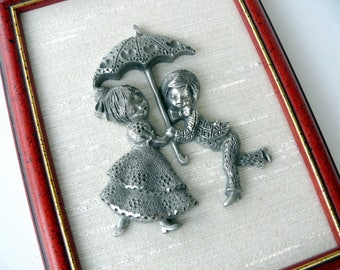 Pewter Picture, Decorative Pewter Wall Hanging, Pewter Wedding Gift, Wall Decor, Children Decor, Pewter Art