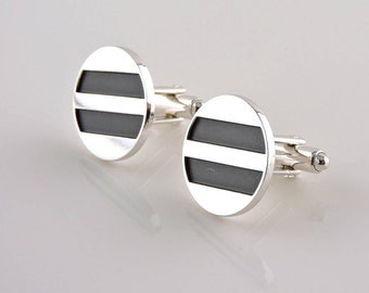 Silver Tone With Black Round Cuff Links