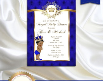 Prince Baby Shower Invitation, Little Prince, Royal Baby Boy Invitation, African American, Royal Blue, Gold, White - Printable, Digital file