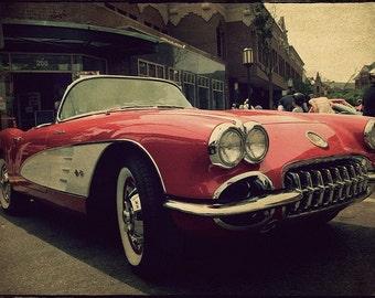 Automotive Art, Corvette Decor, Classic Car Art, Gift for him, Garage Decor, Man Cave, Vintage Corvette
