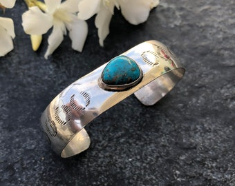 Turquoise & Sterling Signed Cuff | Blue Turquoise Bracelet | Native Cuff | Sterling Bracelet