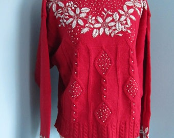 Red Beaded Snowflake Ugly Christmas Sweater
