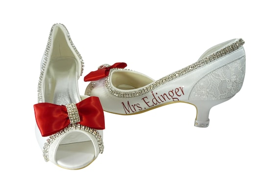 Embellishment Shoes Wedding and Heel Satin Personalized Red amp; Bridal Rhinestone Bow Colors Customized Lace or with Satin in fqZIqT1n