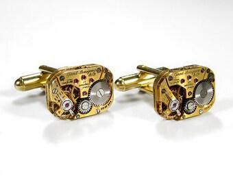 Steampunk Jewelry Mens Cufflinks GIRARD PERREGAUX Gold Watch Cuff Links Wedding Anniversary Groom Fiancee Cufflinks - Jewelry by edmdesigns