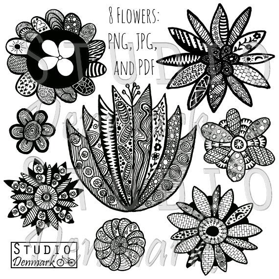 Zentangle Flowers Clipart Set 8 Whimsical Doodle Flowers