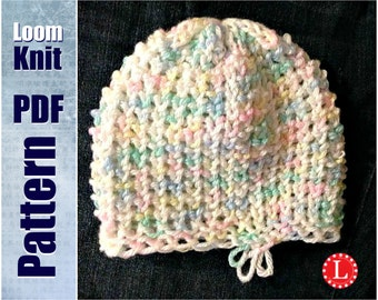 Loom Knit Baby Hat Tiny Heart Stitch PATTERN with Video Tutorial