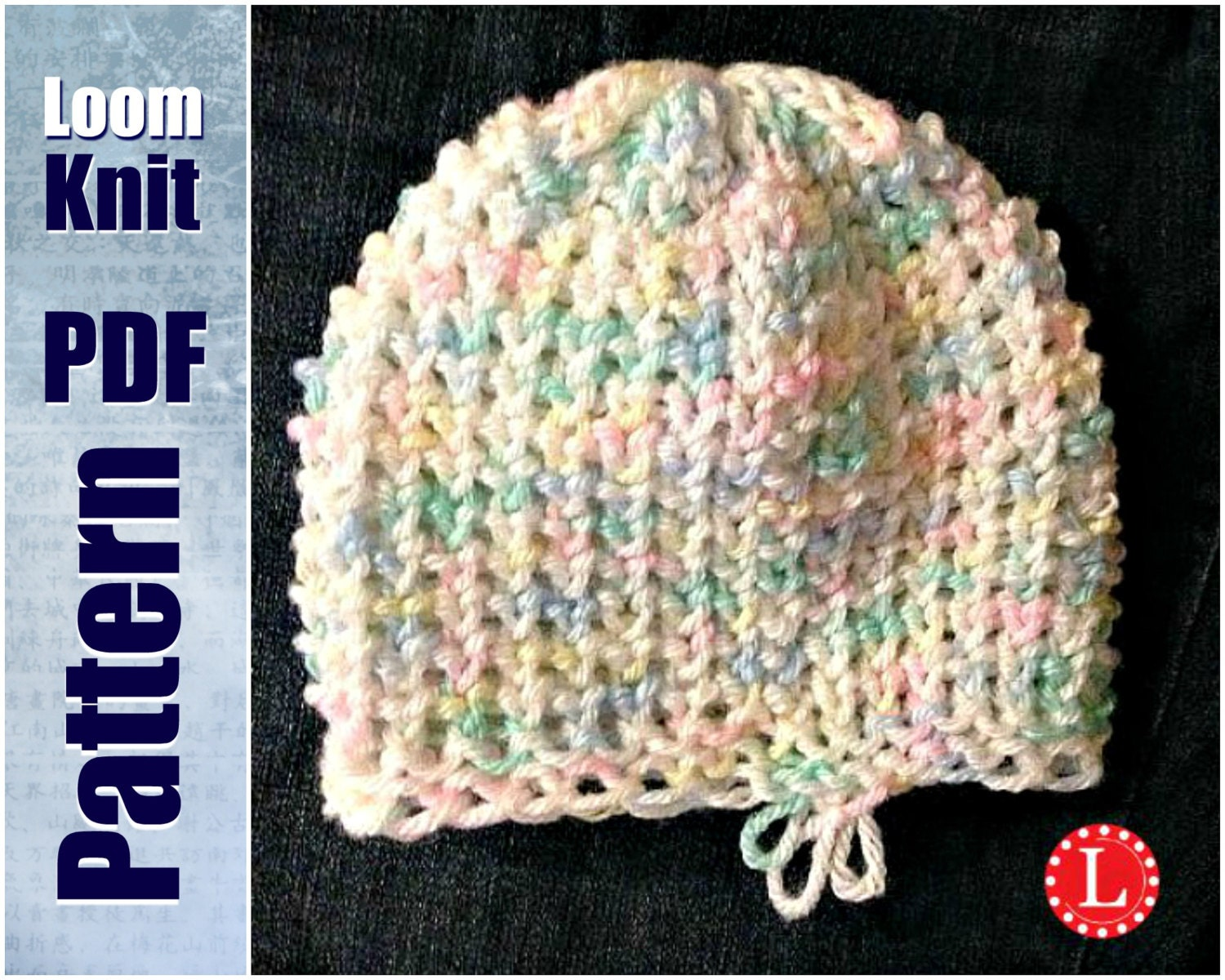 Loom Knit Baby Hat Tiny Heart Stitch PATTERN with Video Tutorial ...