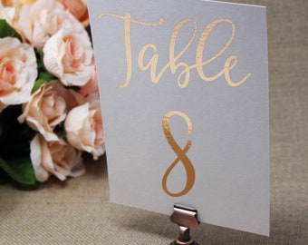 Single-Sided Gold Foil on White, Ivory or Blush Table Numbers | Matte or Shimmer Printed Table Numbers | 5x7 or 4x6 Table Numbers