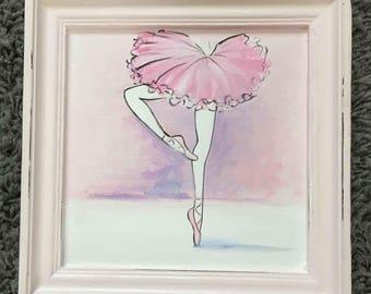 ballerina pirouette picture, kids art, hand painted kids art original, children's wall art
