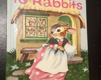 1957 Ten Rabbits by Miriam Clark Potter Wonder Book, Good Condition, Poor Family takes in a traveler; the Easter Bunny in disguise! Secular