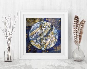 Gaia, Art Print, Mother Earth, Earth Art, Bird Art, Wall Decor, Inspirational, Mixed Media Collage, Giclee Print, Flying Bird, Peace
